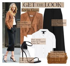 Karlie Kloss - Get The Look by alexanderbrooks on Polyvore featuring Marc by Marc Jacobs, Glamorous, Elizabeth and James, Stuart Weitzman, Burberry, GetTheLook, fringe and karliekloss