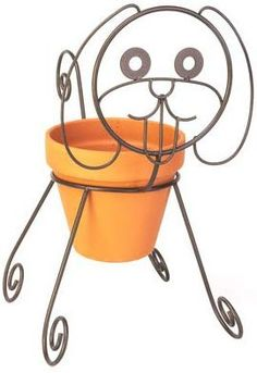 Brown, Dog Planter Pot Holder, Powder Coated Steel Construction, Holds A Standard Pot, Pot Not Included. Metal Plant Hangers, Metal Plant Stand, Welding Art, Welding Projects, Metal Planters, Planter Pots, Wrought Iron Decor, Back Seat Covers, House Plants Decor