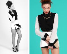 Geo-Centric: Black and white color block top, structured clutch, high-waisted shorts.