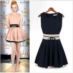 2014 Hot New Sweet Elegant Women Dress/Sleeveless O Neck Chiffon Patch work Tunic Mini Dress