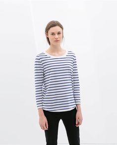 Image 1 of STRIPED ORGANIC COTTON T-SHIRT from Zara