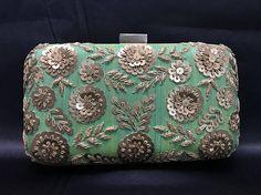 Indian Clutch - Sequin Evening Clutch - Evening Bag - Indian Accessories - Indian Bridal Wedding Clutch - Indian Bag - Light Green Clutch -