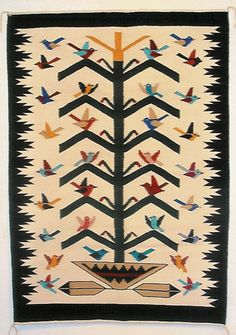 Tree of Life Contemporary Navajo Weaving by Wenora Joe. Navajo Weaving, Navajo Rugs, Tapestry Weaving, Hand Weaving, Native American Rugs, Sand Painting, Native Design, Indian Textiles, Patchwork Rugs