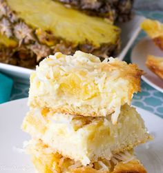 An easy recipe for making pineapple bars. A shorter version of pineapple upside down cake using canned pineapples, and coconut flakes.