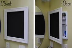 DIY: Framed Chalkboard Medicine Cabinet (I'd use it as a spice cabinet in the kitchen!)