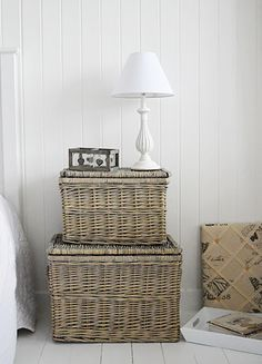 A set of grey baskets for storage, bedroom, living room - White Cottage Furniture and Interiors Storage Bench With Baskets, Diy Storage Bench, Storage Design, Storage Ideas, Bedroom Storage Cabinets, Girls Bedroom Storage, Bedside Table Design, Bedside Tables, Childrens Bedroom Storage