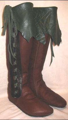 Handwerker, die Leder Mokassins COMICON Renaissance Stiefel Buffalo Larp Mittelalter Custom Made, die handgemacht von Debbie Leather