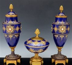 Magnificent 19th C. Sevres Jeweled Garniture Vases Set : Lot 141