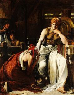 Theobald Chartran - Priam pleading for the body of Hector from Achilles. Tags: trojan war, iliad, priam, priamos, hector, hektor, achilles, achilleus,