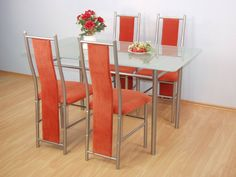 metal with glass desk top table with chairs, MDF furniture, dining furniture, dining chairs. Glass Dining Table, Mdf Furniture, Dining Furniture, Furniture, Glass Top Desk, Glass Furniture, Dining Chairs, Dining Table Chairs, Table Plans