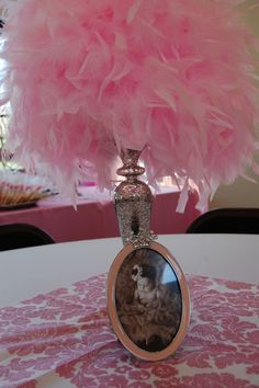 "Photo 38 of 141: Vintage crown w/ pink damask, feathers & black & white / Birthday ""Talia's vintage princess crown 1st bday"" 