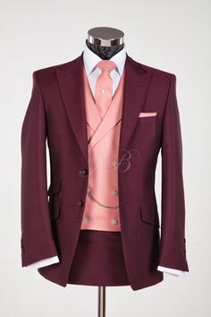New for 2014 - Number 4 of 10 - New Colour of Hire suit - Burgundy! Wedding Suit Hire, Vintage Wedding Suits, Wedding Colors, Burgundy, Suit Jacket, Colours, Mens Fashion, Blazer, Wedding Outfits