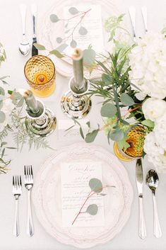 mustard wedding white table with olive green decor eclectic glasses kim james photography