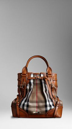 large Heritage House check Bridle Leather tote from Burberry...magnificent
