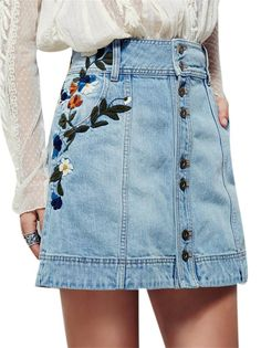 Jackson Embroidered Denim Skirt This vintage-inspired denim mini skirt will have you dreaming of days past. Featuring floral embroidery along the hips and button detailing up the front. Rigid cotton fabric and A-line silhouette with hip pockets. High Waisted Denim Skirt, Denim Mini Skirt, Mini Skirts, Jean Skirts, Waist Skirt, Skirt Outfits, Dress Skirt, Cute Outfits, Skirt Pleated
