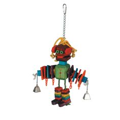 Chew toy for any large bird. Attached from a sturdy, stainless steel chain, this bird toy can stand up to the toughest parrot. Entertains and alleviates boredom. Bells with ropes attached at the ends.