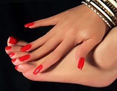 Red manicure for Valentines Day by Elaine All Nails