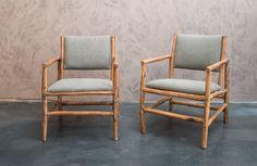 Ecru stoelen uit olijfhout - Draaiende kopsteunen - African Style - Olive wood chairs - Ecru upholstery - #WoonTheater