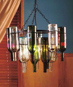 Chandelier Empty wine bottles form the chandelier-look structure | HomeDecorandMore - Home & Garden on ArtFire