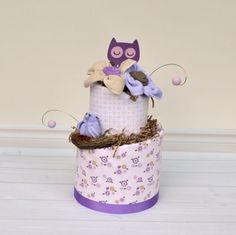 Owl Diaper Cake Owl Baby Shower Decorations por babyblossomco
