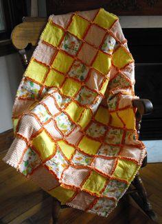 Quilt handmade rag quilt in orange yellow by BlessingsandBabies, $75.00