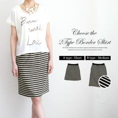 Rakuten: Length / 細 horizontal stripe thin cotton skirt available of a stylish marine look taste- Shopping Japanese products from Japan