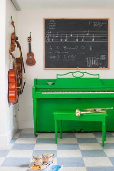Inspiring Music Corner + Green Piano via @designmom