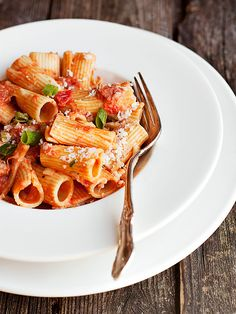 A quick, easy dish, this Rigatoni with Green Onions and Pancetta is a great weeknight meal. It is loaded with flavour and comes together in a flash!