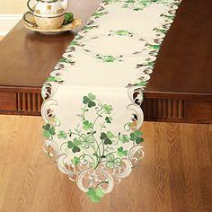 Embroidered Irish Shamrock Table Linens, RUNNER