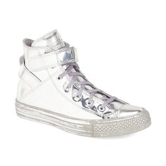 Converse Chuck Taylor All Star 'Brea - Metallic' High Top Sneaker ($100) ❤ liked on Polyvore featuring shoes, sneakers, silver leather, metallic sneakers, leather high tops, high top shoes, velcro sneakers and high top velcro sneakers
