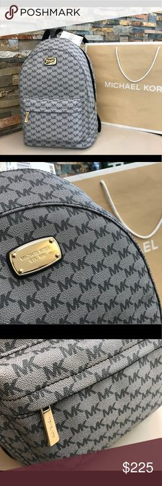 New $348 Michael Kors JET SET Backpack MK Handbag 🔥❤️ LAST 1! 🔥❤️ Guaranteed authentic 38H7CTTB3V / Retail: $348 / Model: JET SET ITEM LG BACKPACK / Gray - Black 💎 Tech Friendly 💎 Gold hardware / 13 long - 15 high - 10 wide open / Fully adjustable straps / New with Michael kors care card and UPC tag / UPC: 191935036964 / No trades 😎 Shipped same business day 😎 Buy now or submit your best offer today! Michael Kors Bags Backpacks