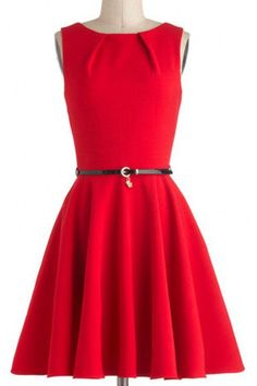 Graceful Round Collar Sleeveless Pure Color Dress For Women