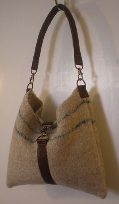 felted shoulder bag - This looks like it could easily be made out of a felted sweater.