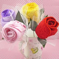 Rose for You Towel Favors, Gift Idea Ready for some good, clean fun? Your guests will laugh with glee when they see these fabulous towel cake favors. Each delectable 'dessert' is really a fluffy hand towel folded to look like a tasty treat. These unique, practical gifts are perfect as bridal shower favors. Best of all, they're calorie-free. #timelesstreasure
