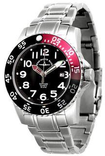ZENO-WATCH BASEL Airplane Diver II Ref. 6350Q-a-7M (black+red), -9M (black+yellow), -5M (black+orange) - Swiss made watches - SwissTime