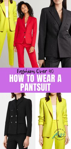 The options for women's pantsuits are better than ever, so right now is definitely the time to check the choices if you're in the market for a new suit or two. Here's how to wear a pantsuit when you're over Source by haveclothes fashion Business Chic, Business Fashion, Classic Outfits, Classic Style, Pantsuits For Women, Pinstripe Suit, Fashion And Beauty Tips, Career Wear, Fashion Over 40