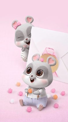 Love Wallpaper Backgrounds, Chibi Wallpaper, Cute Love Wallpapers, Disney Phone Wallpaper, Wallpaper Iphone Cute, Cute Cartoon Wallpapers, Cute Bunny Cartoon, Cute Kawaii Animals, Cute Love Cartoons