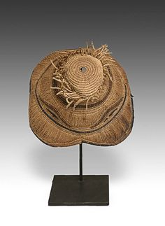 HAT, BASED - KUBA PEOPLE, DEMOCRATIC REPUBLIC OF CONGO, CENTRAL AFRICA - 20TH C. - WOVEN RATTAN