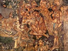 ancient hindu ajanta cave paintings of women in the clouds - Google Search