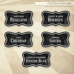 Rustic Wine & Cheese - PRINTABLE Food Labels.