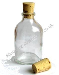 Mini glass bottles for favours - 75p each including labels - from miniatureglassbottles.co.uk