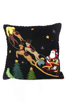 New World Arts Santa in the Sky Accent Pillow