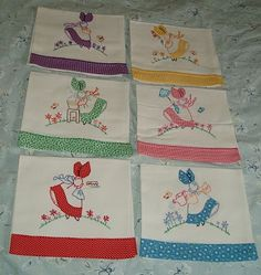 Colonial Miss  dish towels  Looks similar to the Sunbonnet Sue pattern. Quilting and embroidery patterns converge.