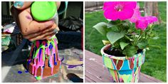 Make a Decorative Garden Pot Tutorial: Here's an easy art project you'll actually use: Turn a few terra cotta pots upside down and squeeze acrylic paints onto the edge, allowing it to drip down the sides. Once it dries you'll have a beautifully funky planter.