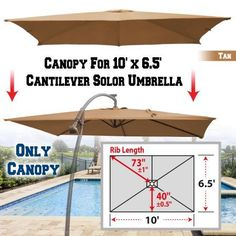 Strong Camel Replacement Canopy Cover for 10' X 6.5' Cantilever Patio Umbrella Offest Parasol Top Replacement (Tan), Beige