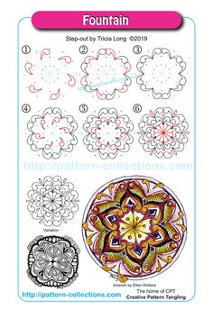 We have a fun week ahead of us at pattern-collections! The Mandala/Rangoli week has begun. Mandala Doodle, Mandala Art Lesson, Tangle Doodle, Tangle Art, Mandala Drawing, Zen Doodle, Doodle Art, Doodle Patterns, Zentangle Patterns