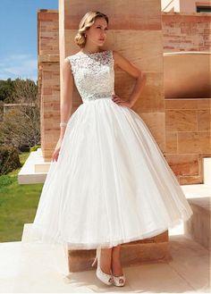 Stunning Tulle Bateau Neckline Ankle-length A-line Wedding Dresses