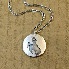 Sterling silver, necklace, pendant, sawed, soldered, bucking bronc, horse, cowboy, rodeo, western, rustic, bronco, cowgirl, sterling by bytwilight on Etsy