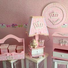 #abajur #kit de bebe #porta fraldas #porta de maternidade #ursinha de tecido #coroa # princesa # - atelie_elefantinho_azul_