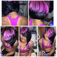 . Quick Weave Hairstyles, Pretty Hairstyles, Bob Hairstyles, Love Hair, Gorgeous Hair, Curly Hair Styles, Natural Hair Styles, Short Black Hairstyles, Purple Hair